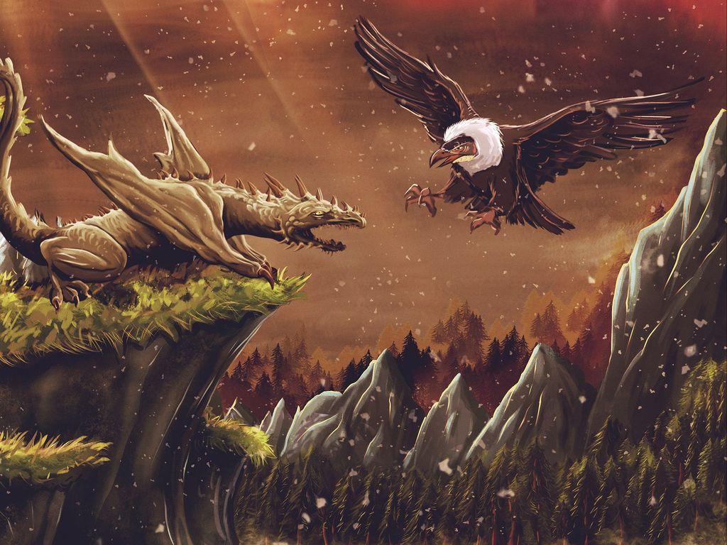1024x768 Wallpaper dragon, vulture, bird, art, fiction