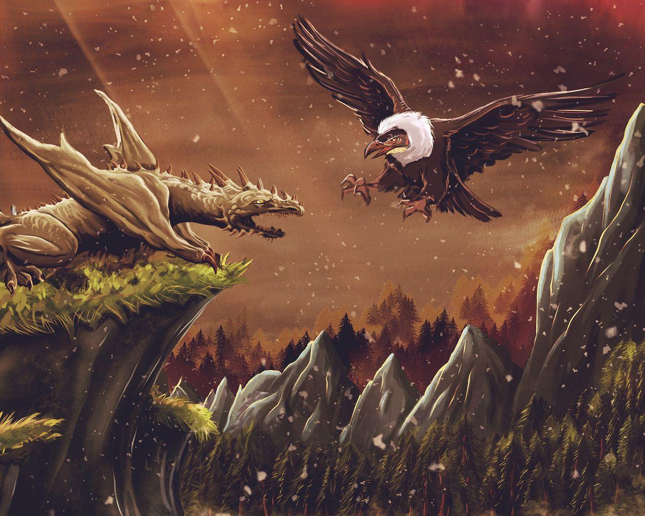 1280x1024 Wallpaper dragon, vulture, bird, art, fiction
