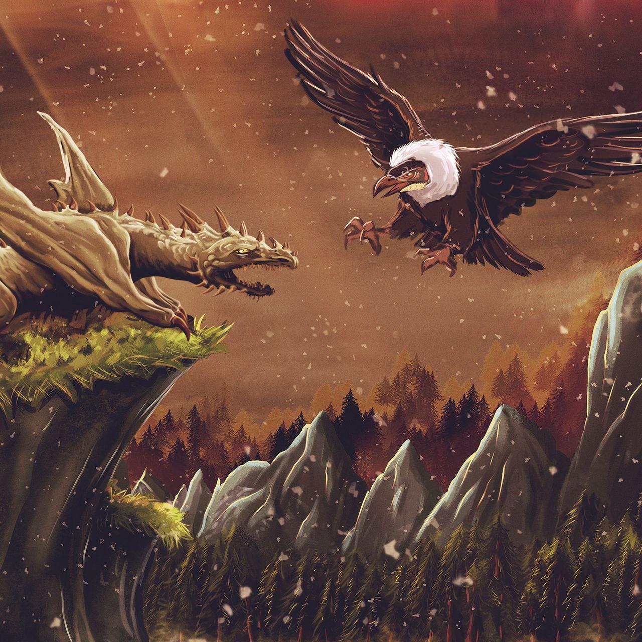 1280x1280 Wallpaper dragon, vulture, bird, art, fiction