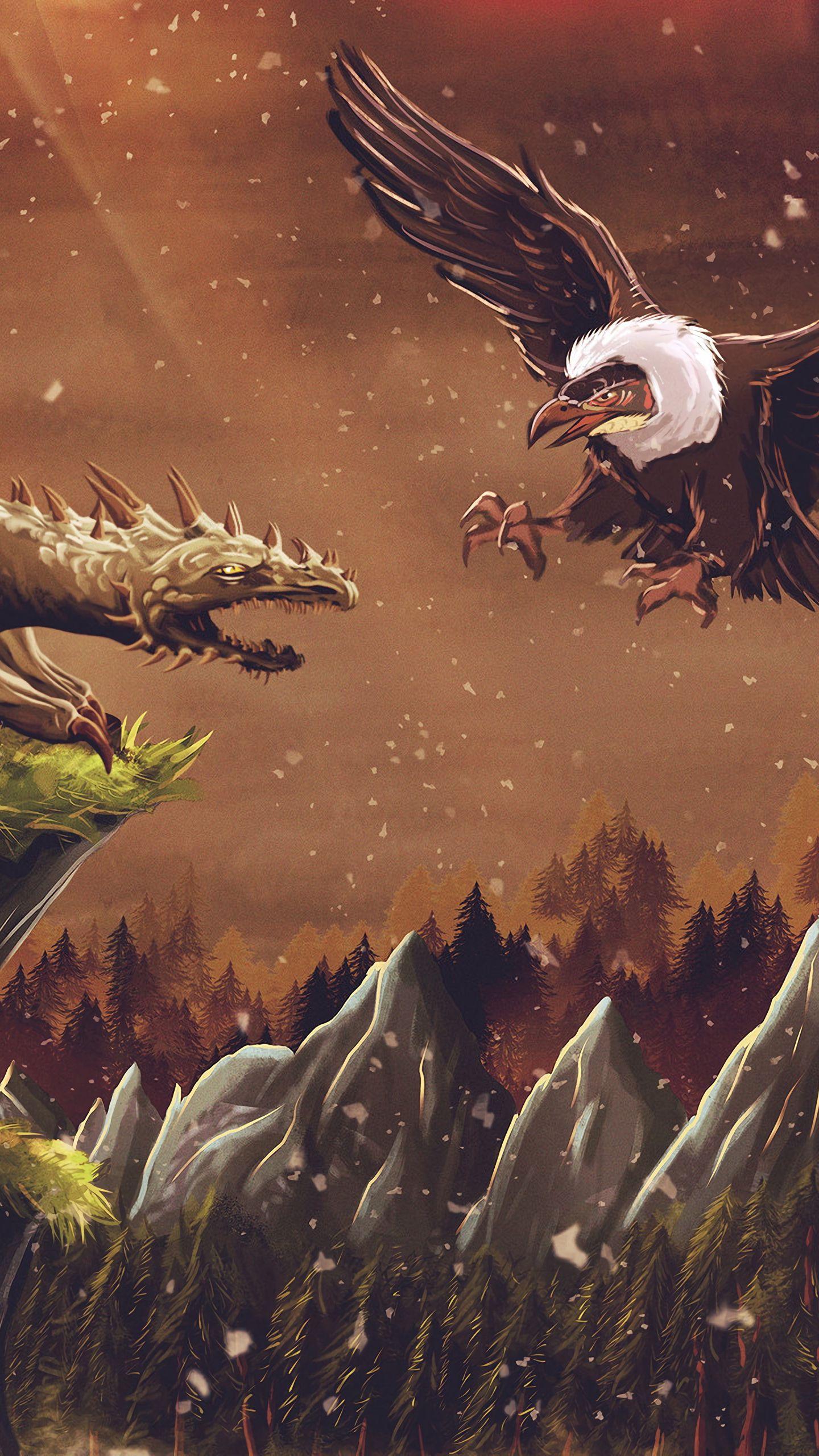 1440x2560 Wallpaper dragon, vulture, bird, art, fiction