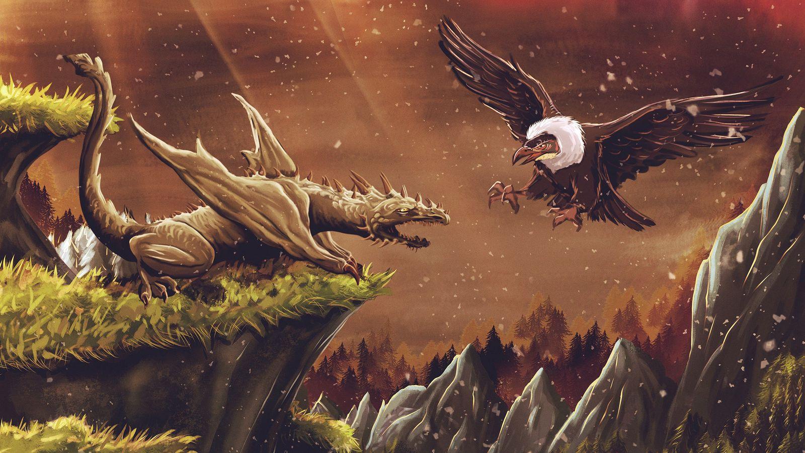1600x900 Wallpaper dragon, vulture, bird, art, fiction