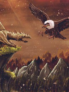 240x320 Wallpaper dragon, vulture, bird, art, fiction