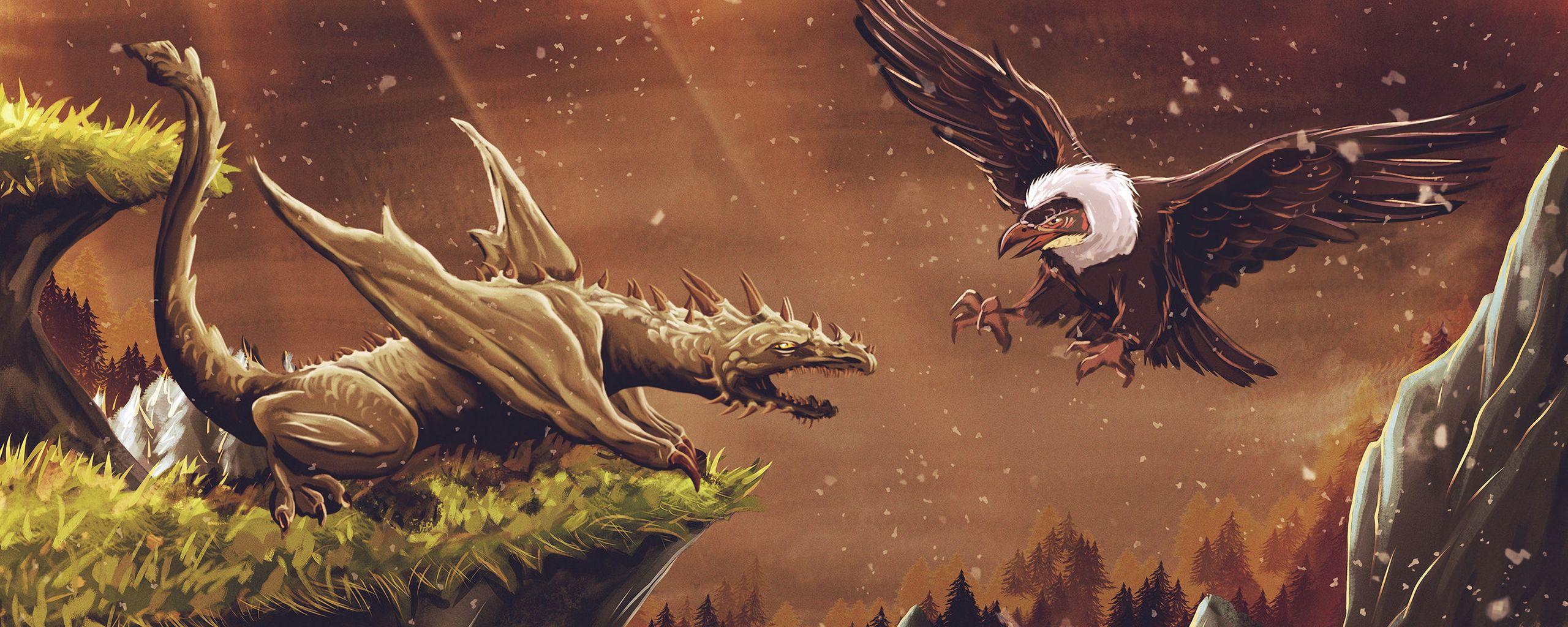 2560x1024 Wallpaper dragon, vulture, bird, art, fiction
