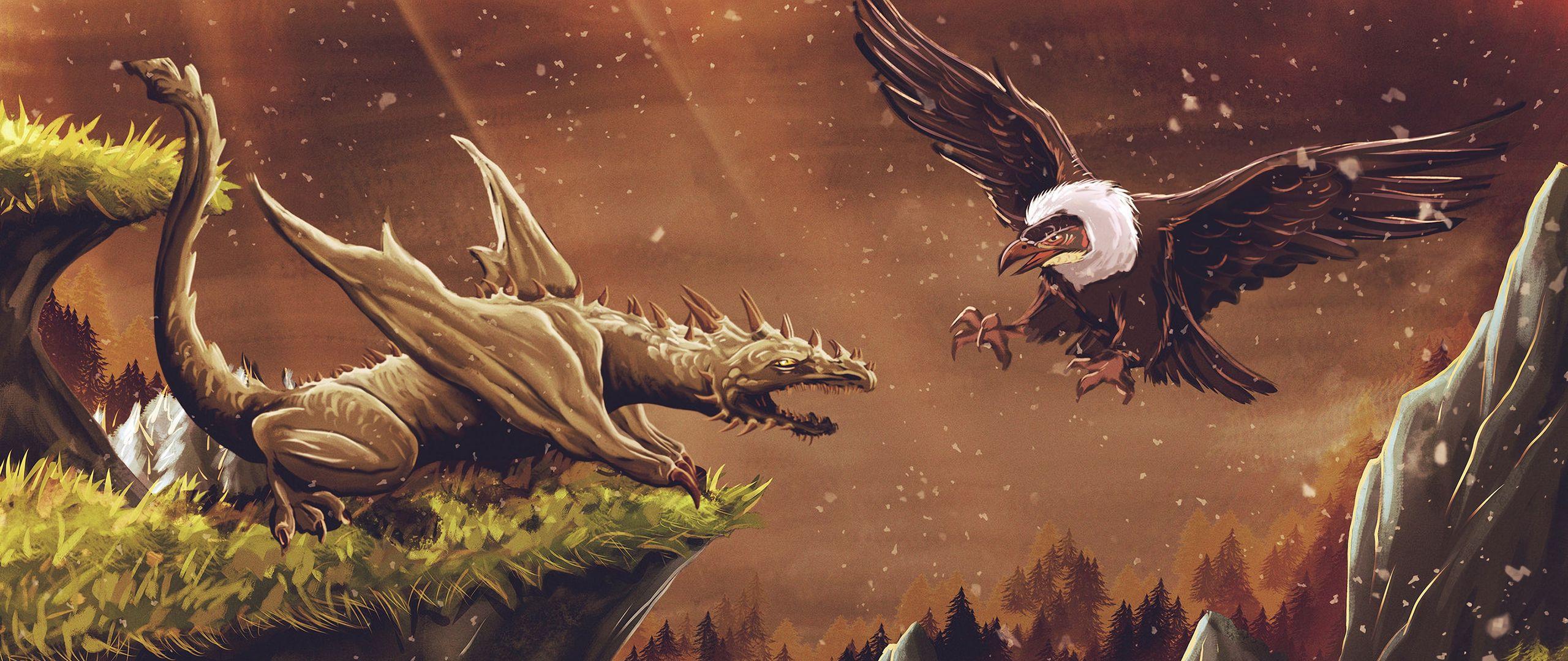 2560x1080 Wallpaper dragon, vulture, bird, art, fiction