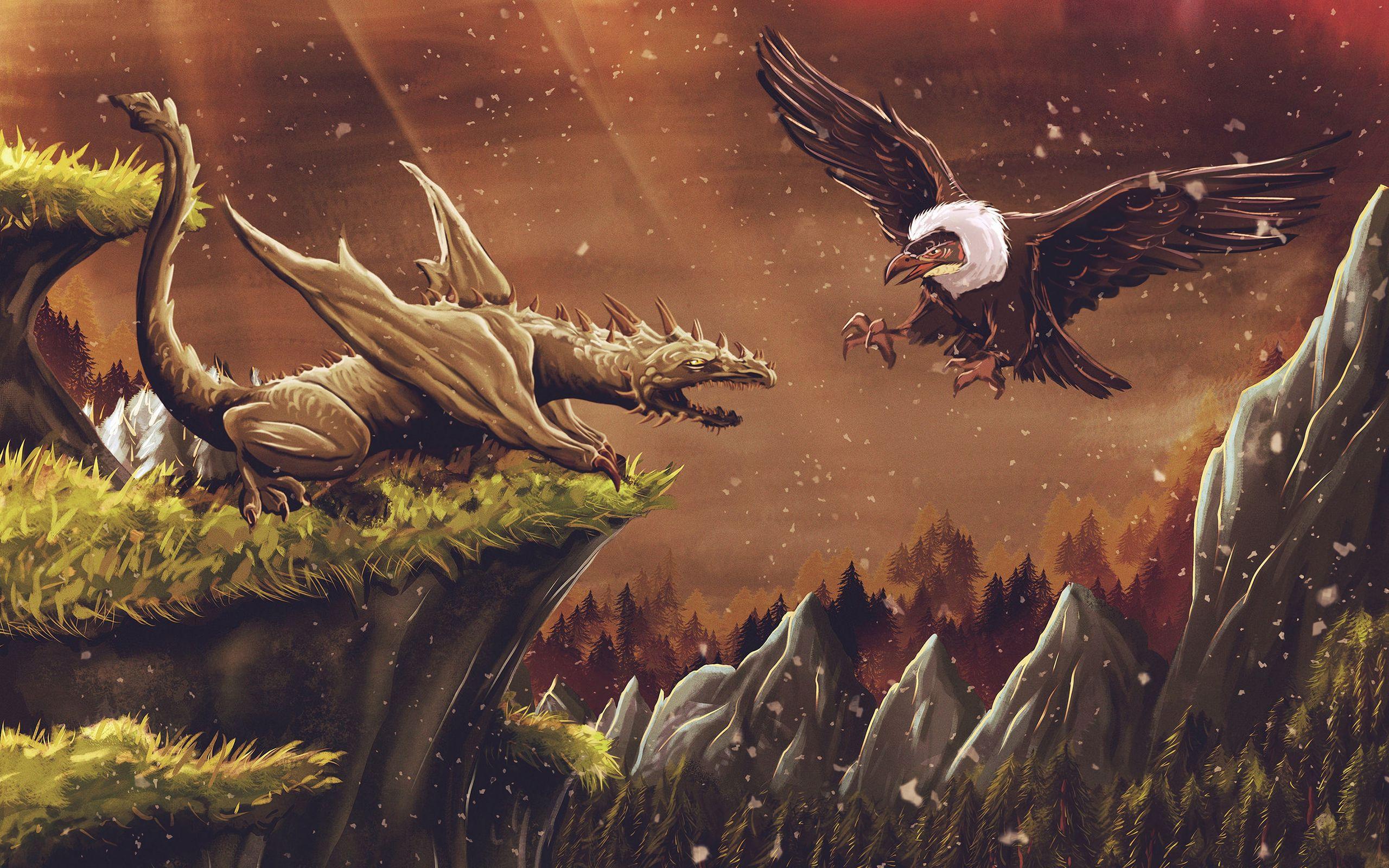 2560x1600 Wallpaper dragon, vulture, bird, art, fiction