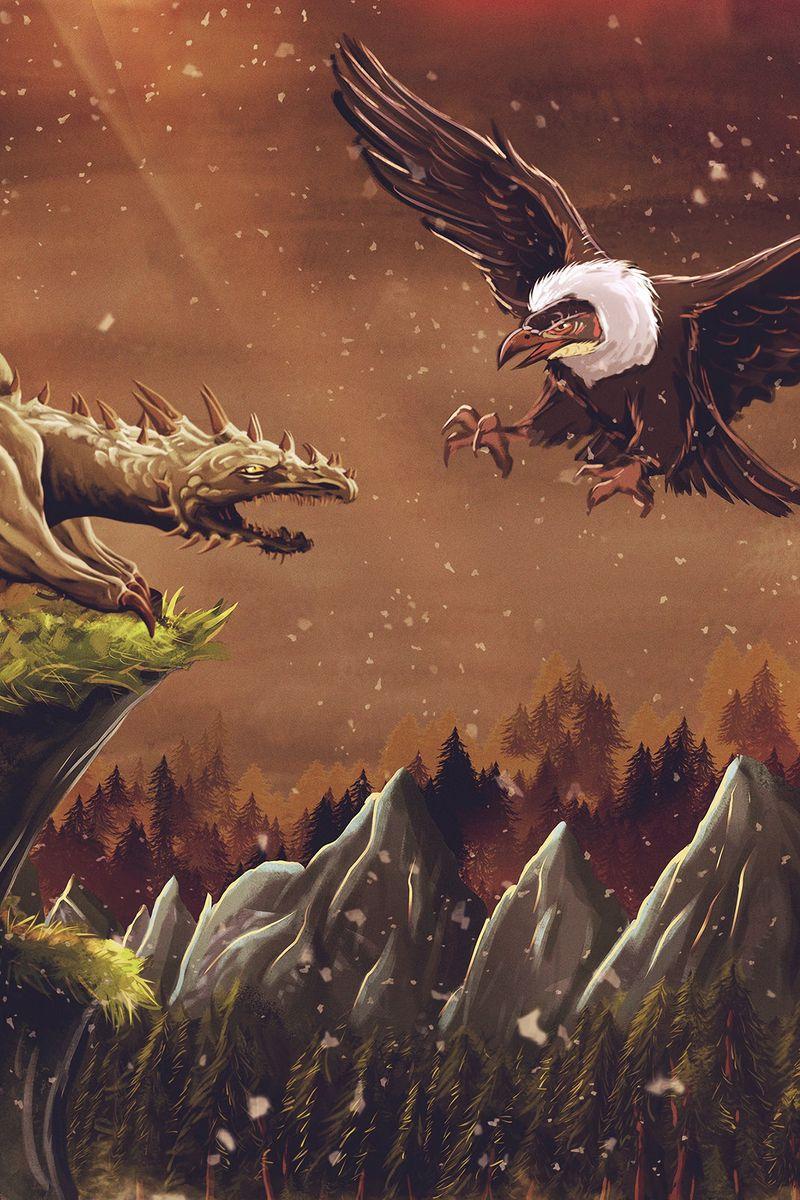 800x1200 Wallpaper dragon, vulture, bird, art, fiction
