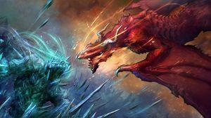 Preview wallpaper dragons, art, battle, fantasy