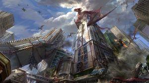 Preview wallpaper dragons, city, skyscrapers, destruction