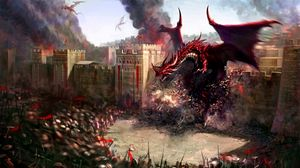Preview wallpaper dragons, city, wall, destruction, soldiers, defense