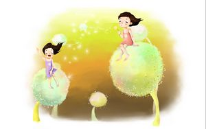 Preview wallpaper drawing, childhood, girl, dreams, dandelions, down, wind, laughter, joy, positive