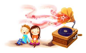 Preview wallpaper drawing, children, girl, boy, happiness, together, swirl, glow, gramophone, record