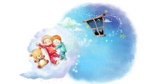 Preview wallpaper drawing, clouds, kids, sleep, childhood, pajamas, window, month, stars, teddy bear