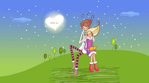 Preview wallpaper drawing, couple, love, grass, date