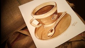 Preview wallpaper drawing, cup, coffee, coffee beans