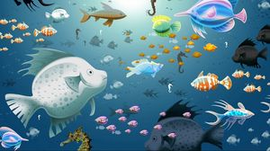 Preview wallpaper drawing, fish, underwater