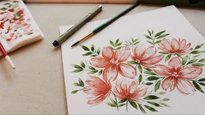 Preview wallpaper drawing, flowers, paints, brushes