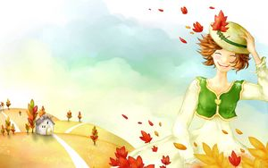 Preview wallpaper drawing, girl, autumn, trees, leaves, rain, house