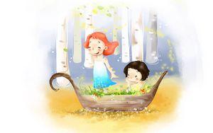 Preview wallpaper drawing, girl, boy, boat, flowers, birch, wind, dress, childhood, joy