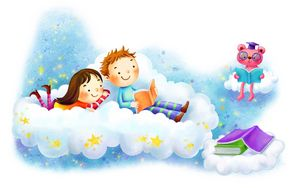 Preview wallpaper drawing, girl, boy, clouds, fantasy, books, stars, smiles