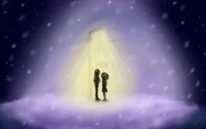 Preview wallpaper drawing, girl, boy, lantern, light, snow, flakes, winter