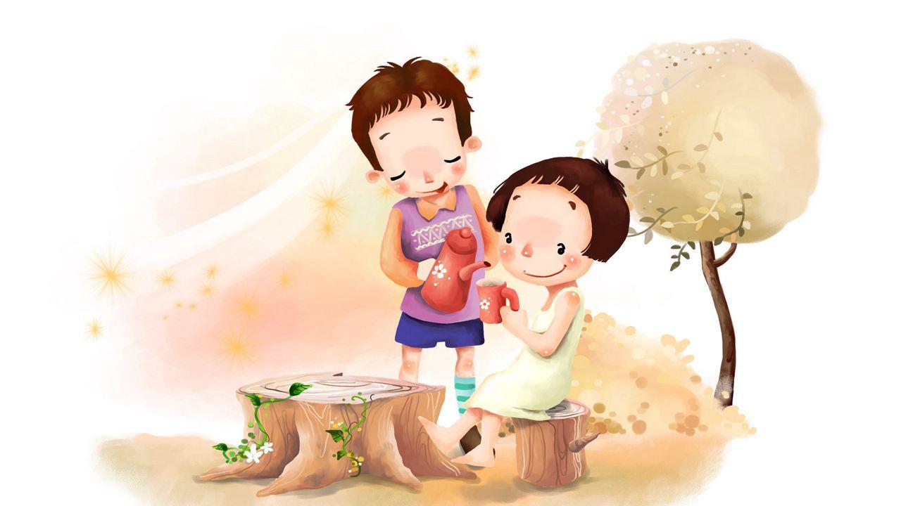 Wallpaper drawing, girl, boy, meadow, flowers, trees, leaves, wind, tea, childhood, positive
