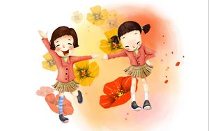 Preview wallpaper drawing, girl, joy, laughter, flowers, skirts