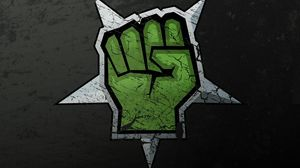 Preview wallpaper drawing, graffiti, hand, green