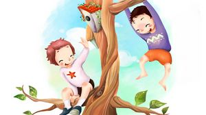 Preview wallpaper drawing, kids, fun, tree, birdhouse, branches, foliage