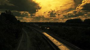 Preview wallpaper drawing, oil, train, railway, sunset, sky