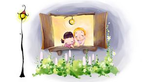 Preview wallpaper drawing, window, comfort, couple, lights, flowers