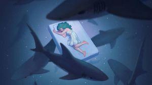 Preview wallpaper dream, underwater world, sharks, girl, art