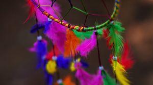 Preview wallpaper dreamcatcher, multi-color, feathers, bright