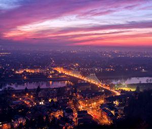 Preview wallpaper dresden, germany, bridge, lights, river, elbe, evening, orange, sunset, view, elevation, panorama