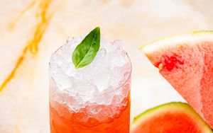 Preview wallpaper drink, glass, watermelon, ice, mint