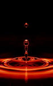 Preview wallpaper drop, liquid, closeup, red