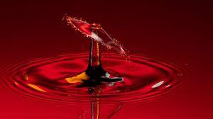 Preview wallpaper drop, splash, macro, red, liquid