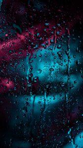 Preview wallpaper drops, glass, rain, moisture, window, surface, dark