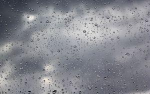 Preview wallpaper drops, rain, glass, water, clouds