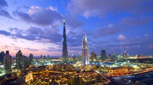 Preview wallpaper dubai, building, view from the top, view, city lights