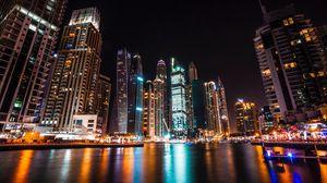 Preview wallpaper dubai, united arab emirates, skyscrapers, night
