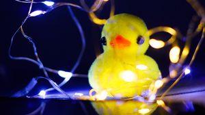 Preview wallpaper duck, toy, garland, light