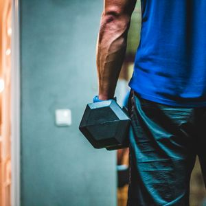 Preview wallpaper dumbbell, arm, man, gym, sport