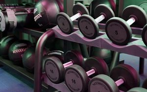 Preview wallpaper dumbbells, gym, fitness, sport