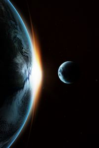 Preview wallpaper earth, moon, transit, galaxy