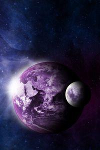Preview wallpaper earth, moon, universe, nebula