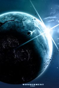 Preview wallpaper earth, night, day, progress, light, sun, development, cracks