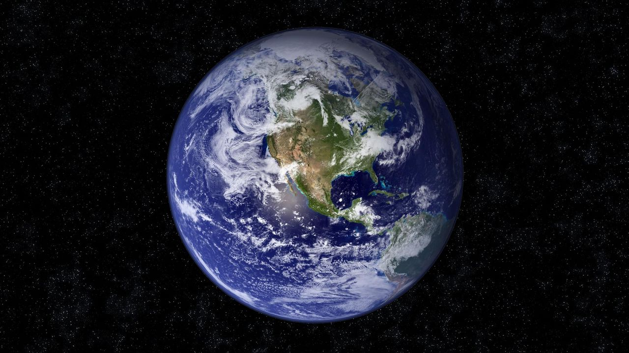 Wallpaper earth, planet, blue, black, stars