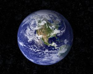 Preview wallpaper earth, planet, blue, black, stars