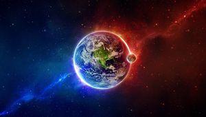 Preview wallpaper earth, planet, blue, orange, elements, balance
