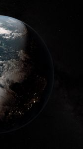 Preview wallpaper earth, planet, shadow, space, stars